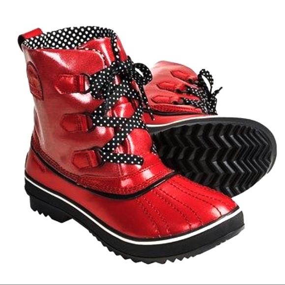 e2ad1a1f0f31 Sorel Tivoli Duck Rain Boot Red w  polka dots US 8.  M 5c677afe9fe48622e4b38fcc
